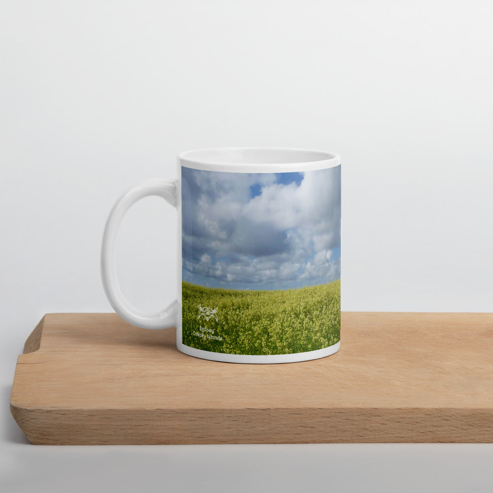 Orkney mug - A field of rape on the beautiful Orkney island of Egilsay