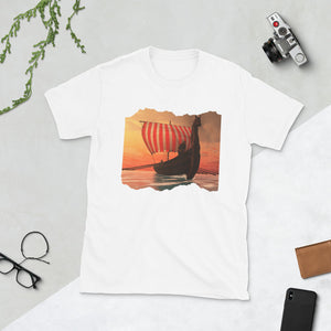 Viking Tee - Graceful Viking Longship at Sunset