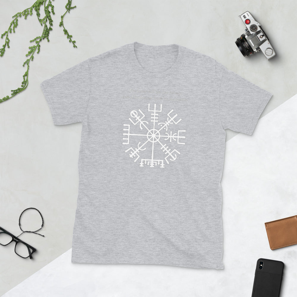 Viking Tee - Vegvisir - Mystical Viking Symbol of Guidance & Protection, White (he/him)