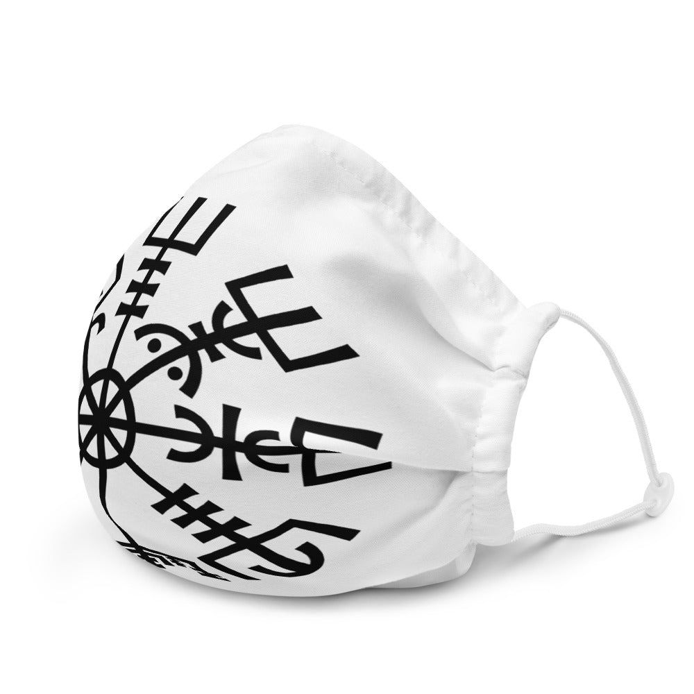 Viking Premium Face Mask - Vegvisir, Black on White
