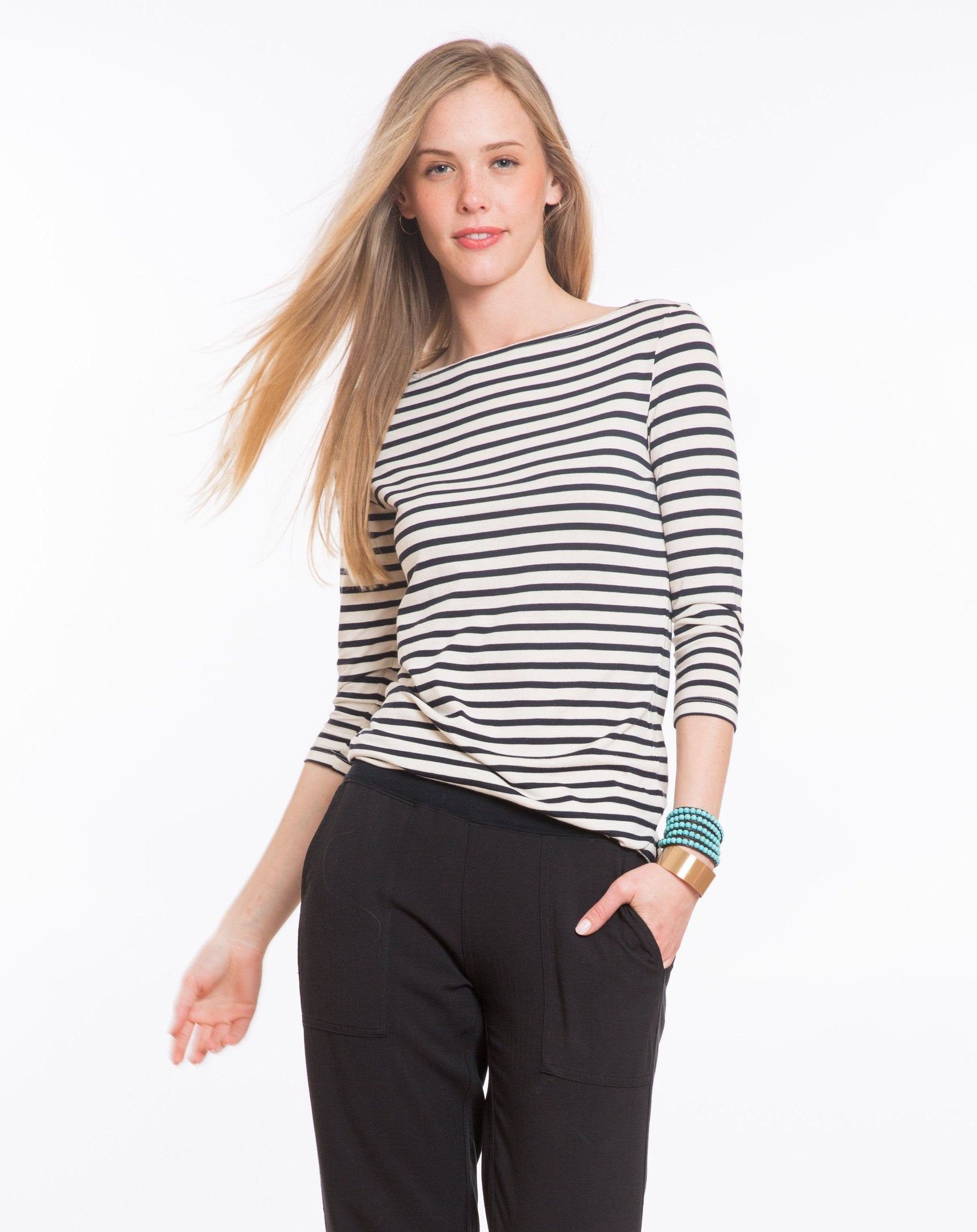 Darby Striped Boatneck Crew - Navy and White Stripe