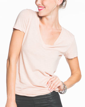 Slub V-Neck - Dusty Pink
