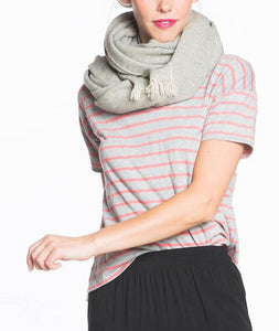 Martha V-neck - Heather Grey and Red Stripe