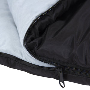 2-in-1 Double Sleeping Bag w/ 2 Pillows, Carrying Case - Black/Gray