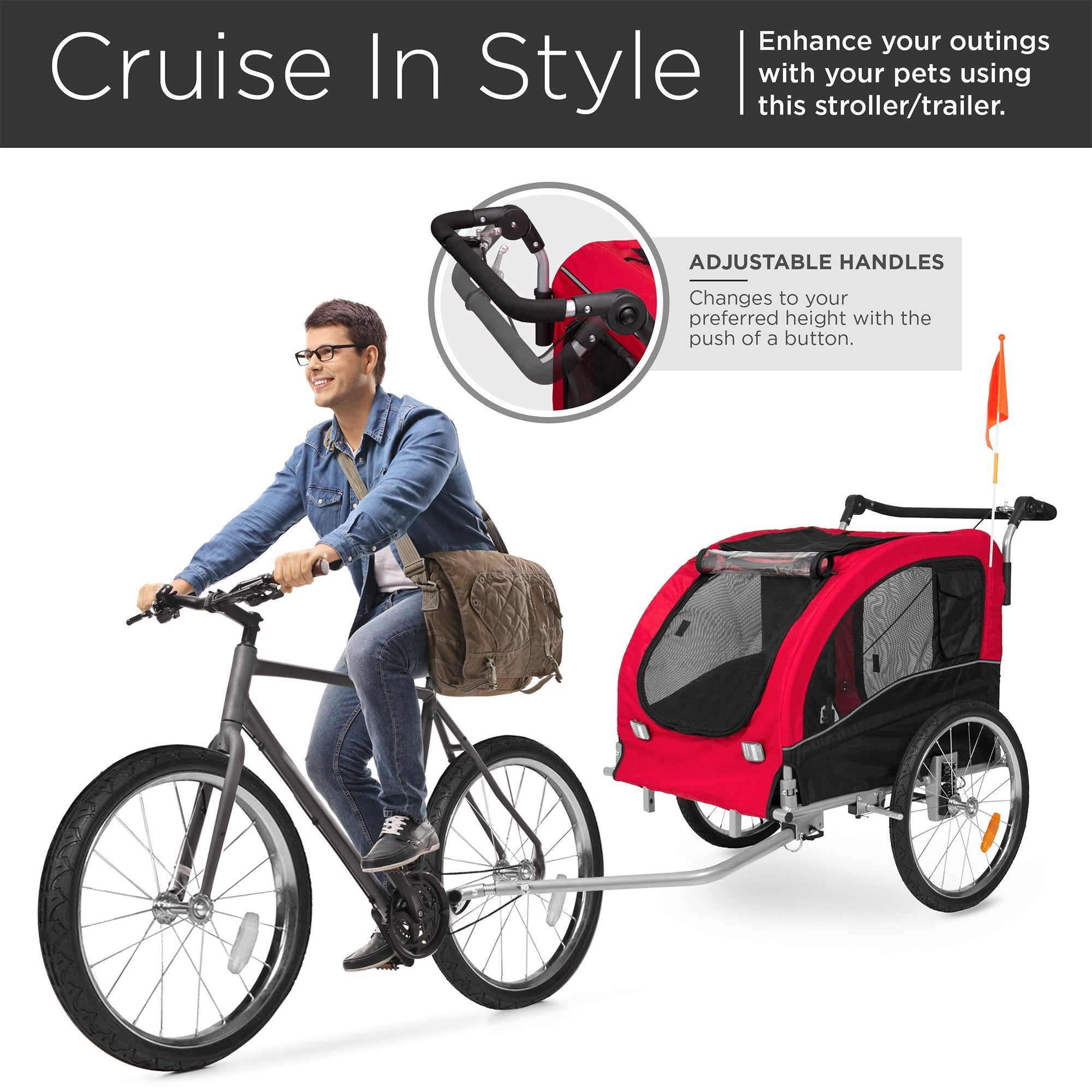 2-in-1 Pet Stroller and Trailer