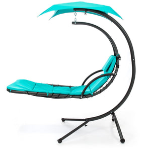 Hanging Curved Chaise Lounge Chair w/ Built-In Pillow, Removable Canopy