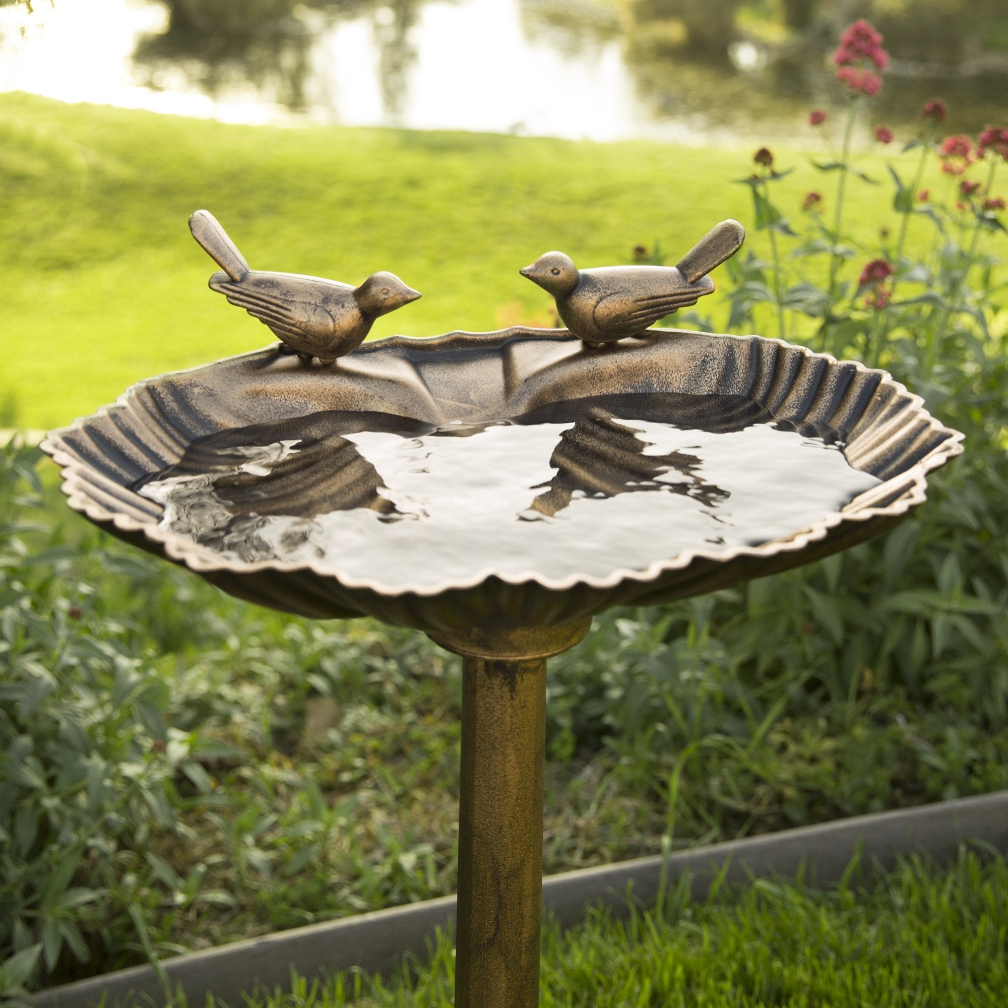 Pedestal Bird Bath Decoration w/ Sparrow Statues -  Antique Gold
