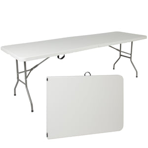 8ft Portable Folding Plastic Dining Table w/ Handle, Lock - White