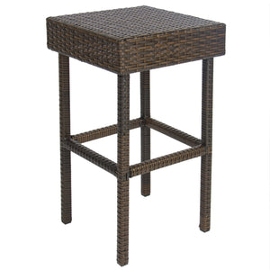 3-Piece Outdoor All-Weather Wicker Bar Table Set w/ 2 Stools