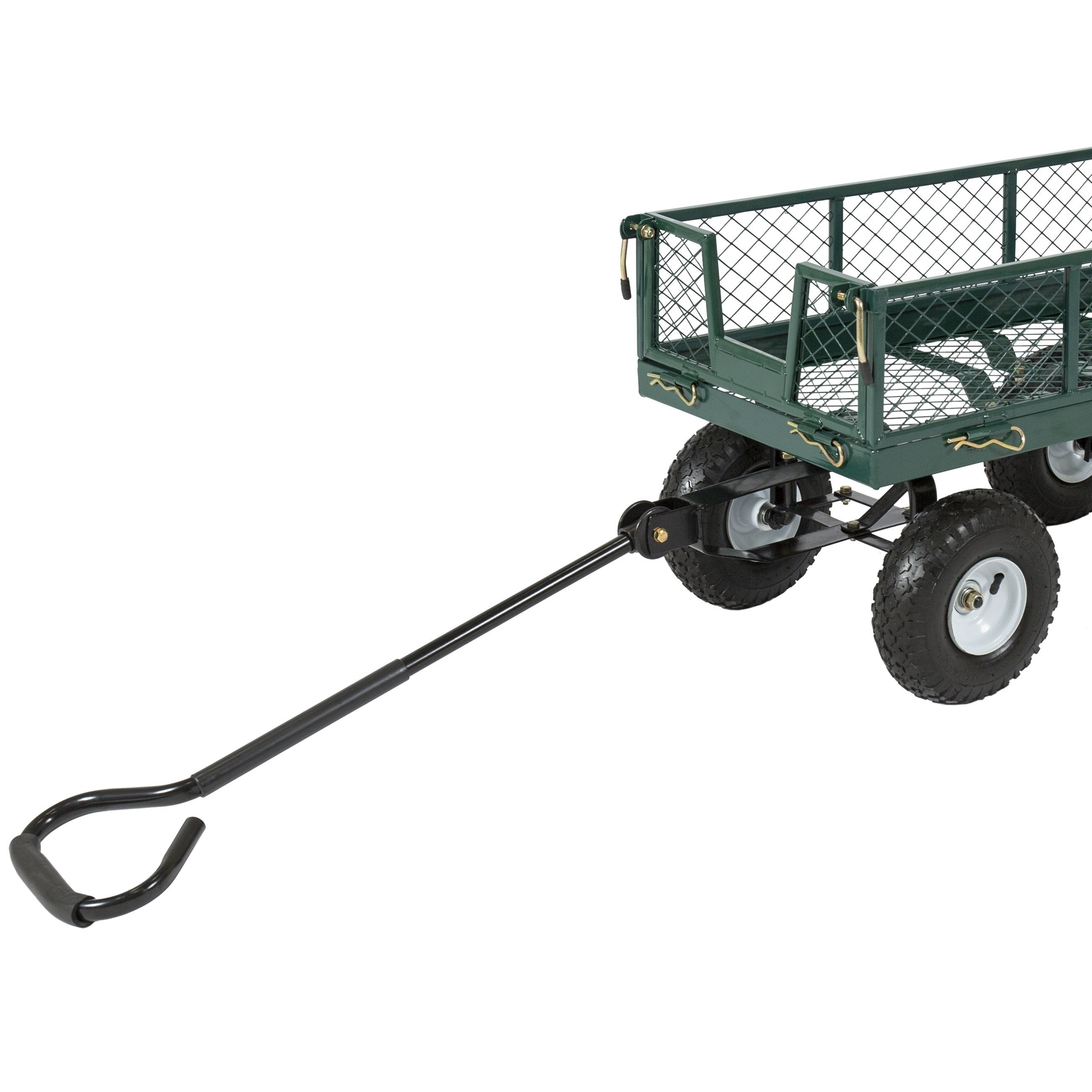 Steel Garden Utility Cart Wagon w/ 400lb Capacity, Removable Sides, Handle