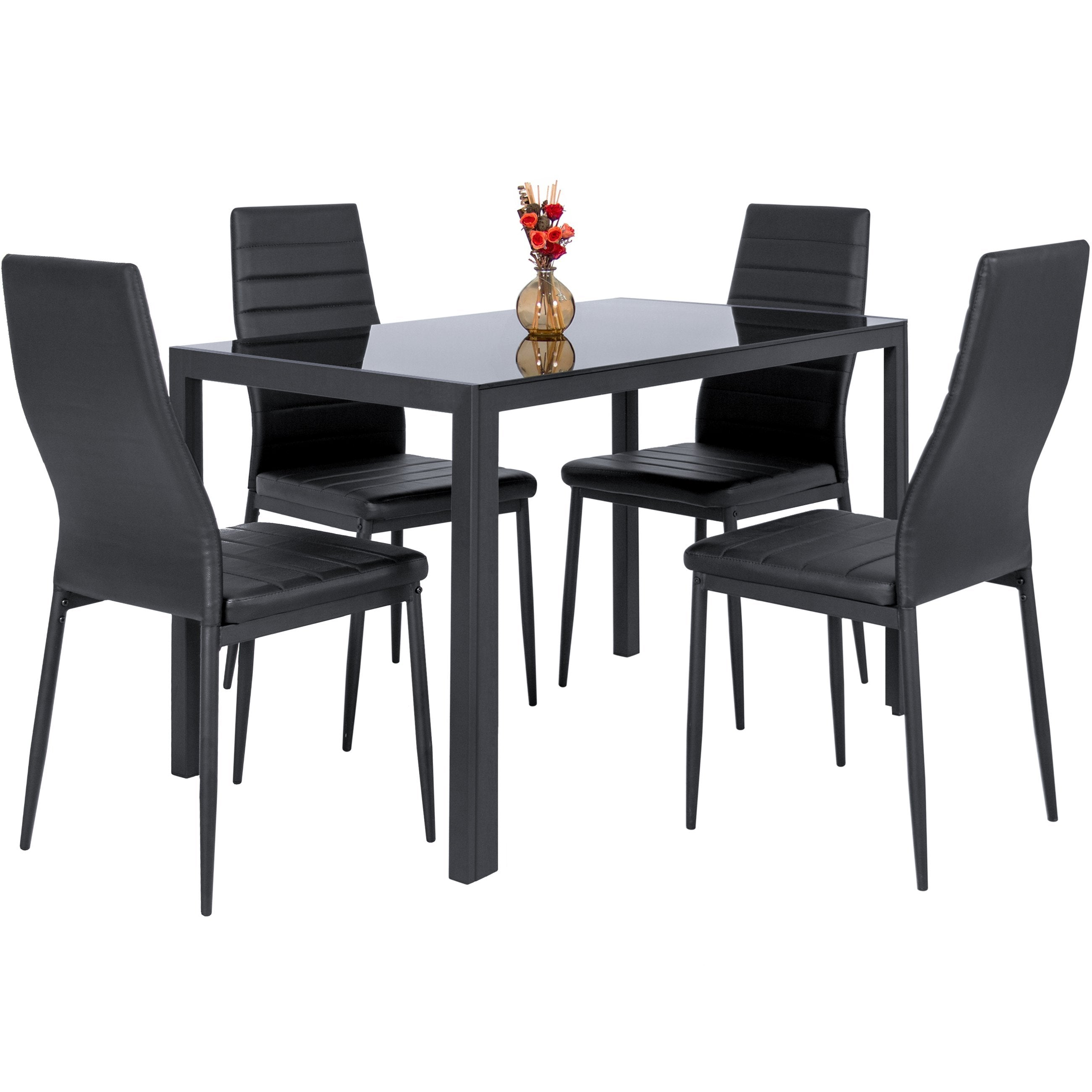5-Piece Dining Table Set w/ Glass Top, Leather Chairs - Black