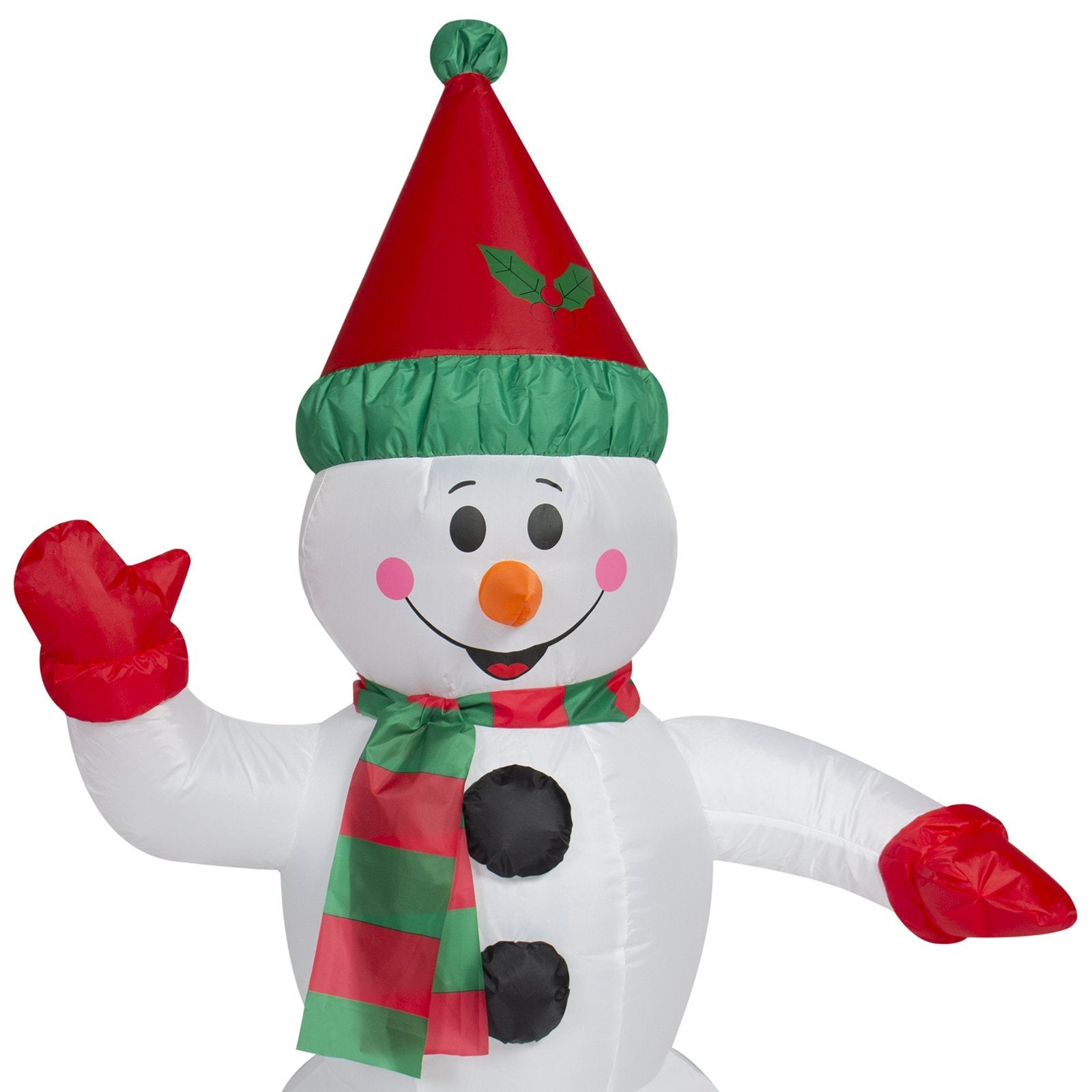 4ft Pre-Lit Inflatable Snowman Christmas Decor w/ Blower, Lights - White