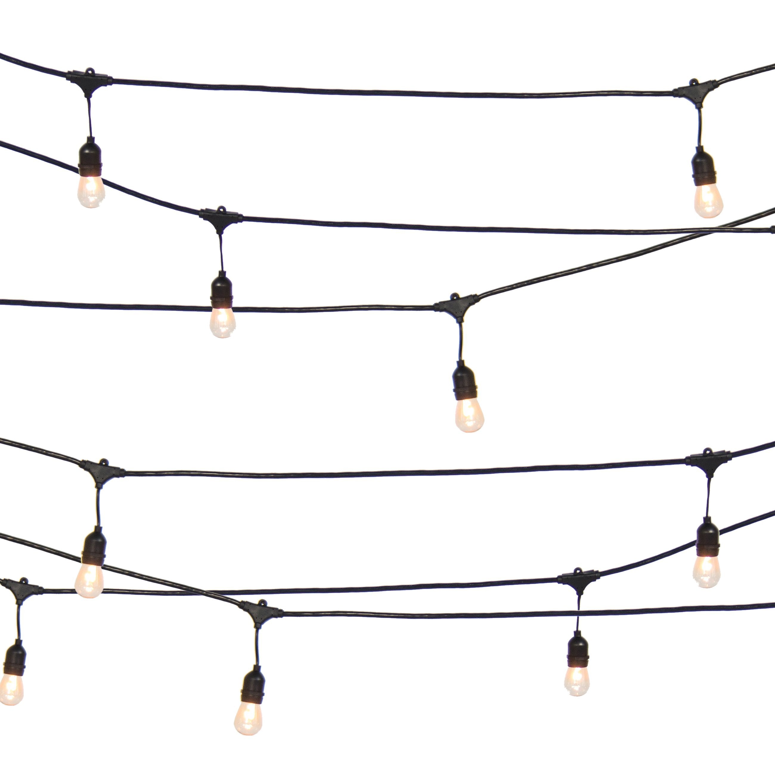 48ft Commercial Weatherproof Patio String Lights - Black