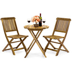 3-Piece Acacia Wood Bistro Set w/ Folding Table and Chairs