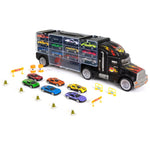 29-Piece 2-Sided Carrier Truck w/ 11 Accessories, 18 Cars - Multicolor