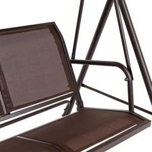 2-Person Double Outdoor Canopy Swing Chair Bench w/ Mesh Seats - Brown
