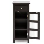 Bathroom Storage Floor Cabinet w/ 3 Shelves, Tempered Glass Double Doors