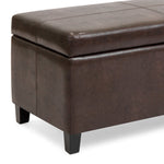 Faux Leather Ottoman Storage Bench Home Accent w/ Wood Frame, Lift-Up Lid
