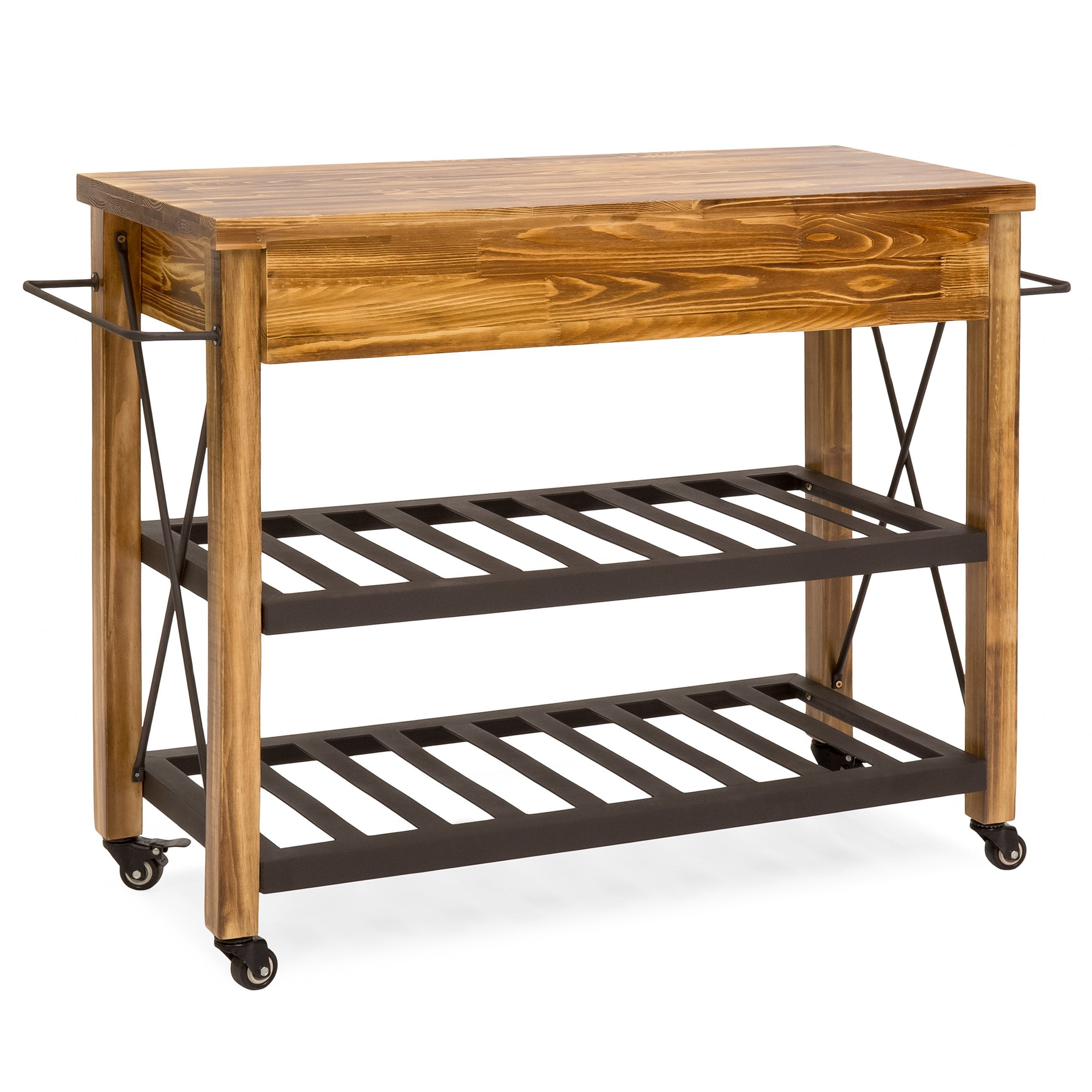 Industrial Kitchen Cart w/ Lockable Wheels - Natural