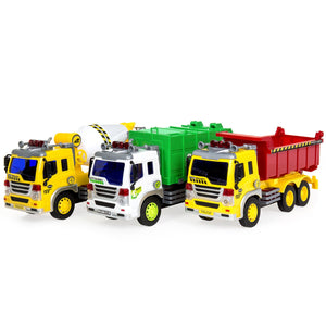 3-Pack 1/16 Scale Push-and-Go Friction Powered City Vehicle Toy Trucks