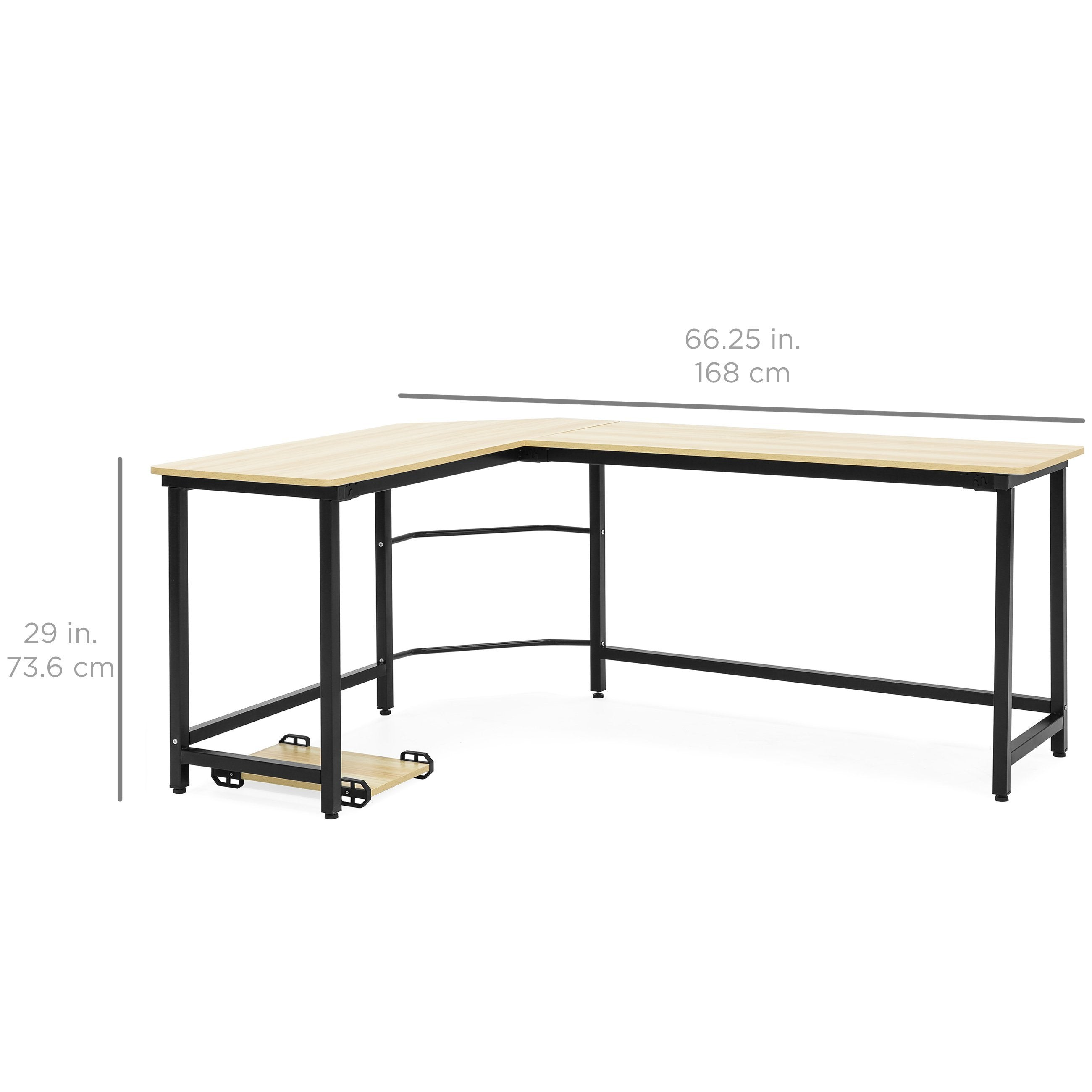 Modern L-Shaped Corner Computer Desk Table Workstation w/ CPU Stand