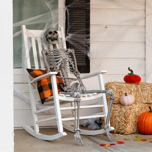 5ft Full Body Poseable Skeleton Halloween Decor w/ Movable Joints