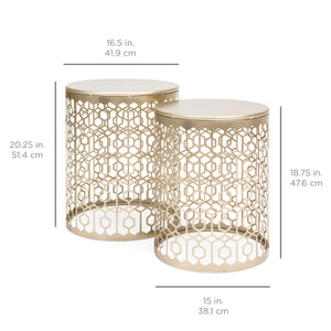 Set of 2 Decorative Round Side Accent Table Nightstands