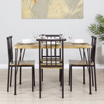 5-Piece Modern Metal and Wood Dining Table Furniture Set w/ 4 Chairs - Brown
