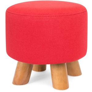 Upholstered Pouf Ottoman Footrest Stool Seat Home Accent w/ Linen Cover
