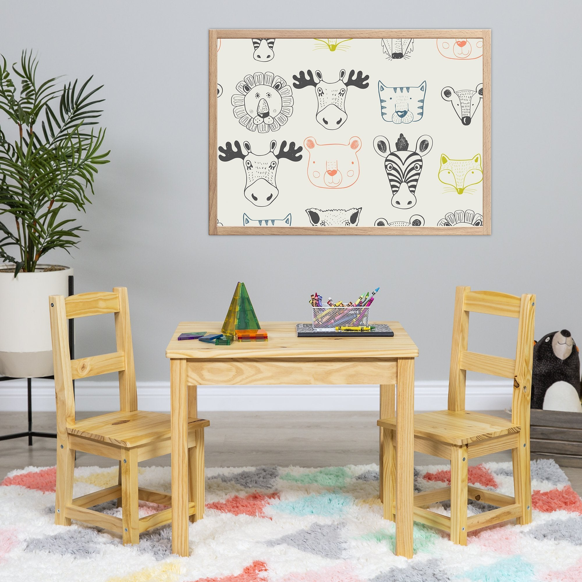 3-Piece Kids Wooden Activity Table Furniture Set w/ 2 Chairs