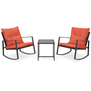 3-Piece Wicker Bistro Furniture Set w/ 2 Rocking Chairs, Glass Side Table