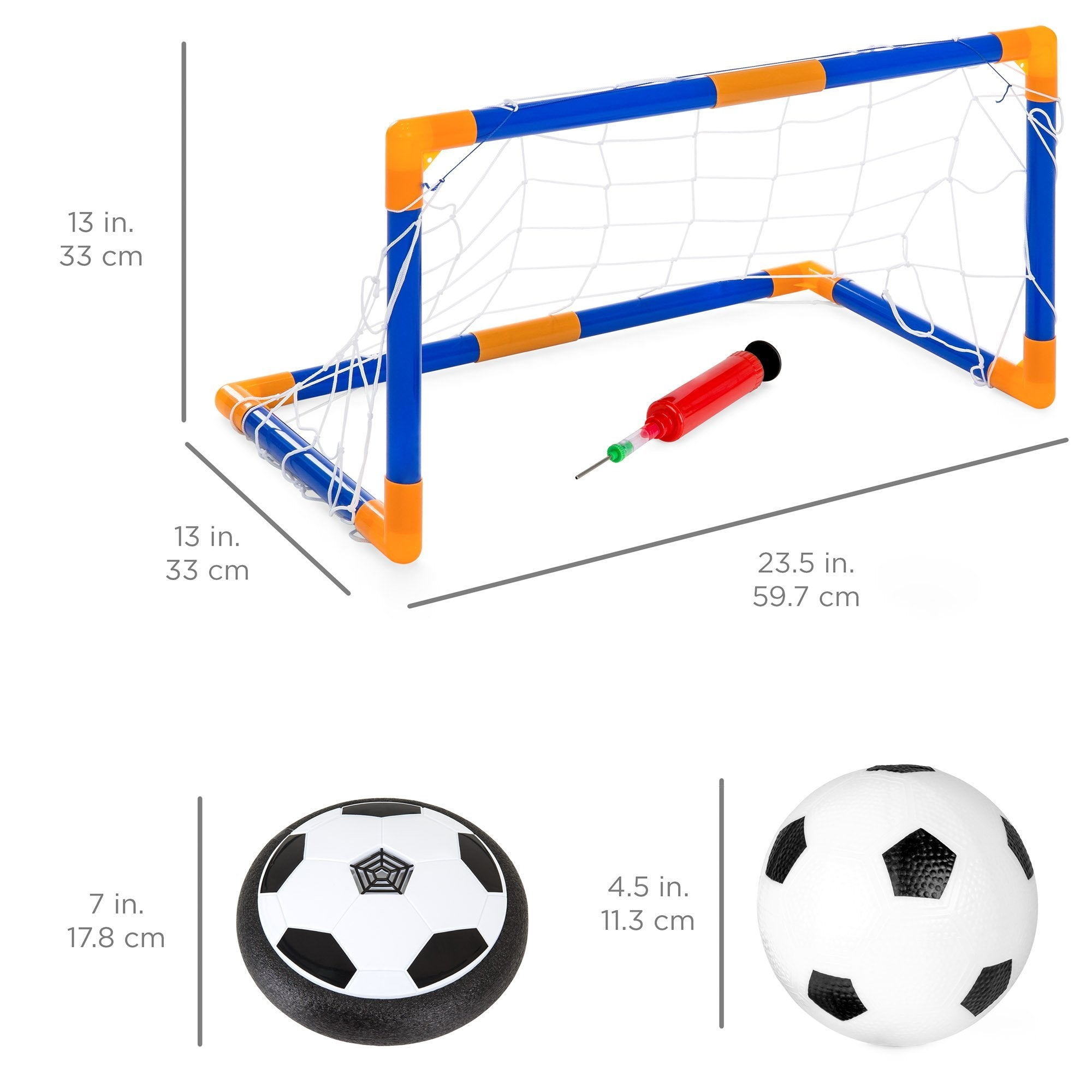 Light Up Hover Disk Soccer Set w/ Air Power Soccer, Pump, Ball, Goal