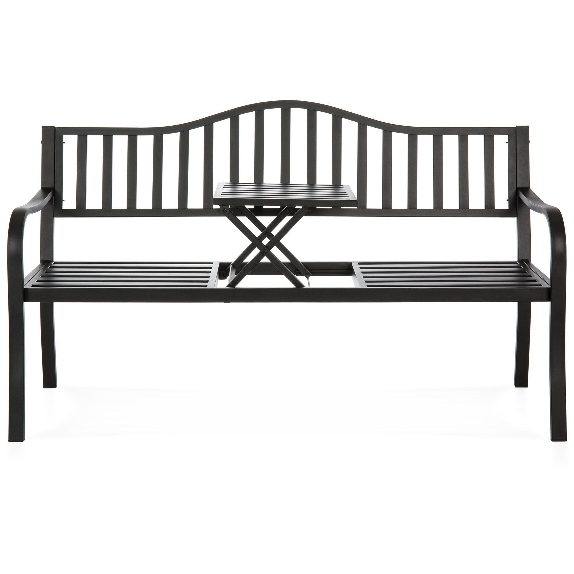 Outdoor Cast Iron Garden Patio Double Bench w/ Pullout Middle Table