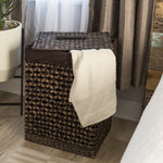 Water Hyacinth Woven Laundry Hamper Basket w/ Removable Liner, Lid