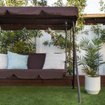 2-Person Outdoor Canopy Swing Glider Furniture w/ Cushions, Steel Frame