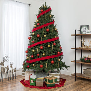 Hinged Douglas Full Fir Artificial Christmas Tree w/ Metal Stand