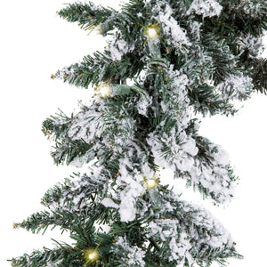 9ft Pre-Lit Snow Flocked Christmas Garland w/ 100 Clear LED Lights - Green