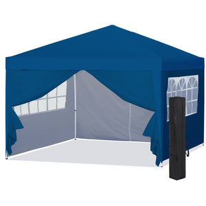 10x10ft Pop Up Canopy Tent w/ Detachable Window Walls, Zip-Up Doorway