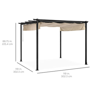 10x10ft Outdoor Pergola w/ Weather-Resistant Retractable Canopy, Steel Frame
