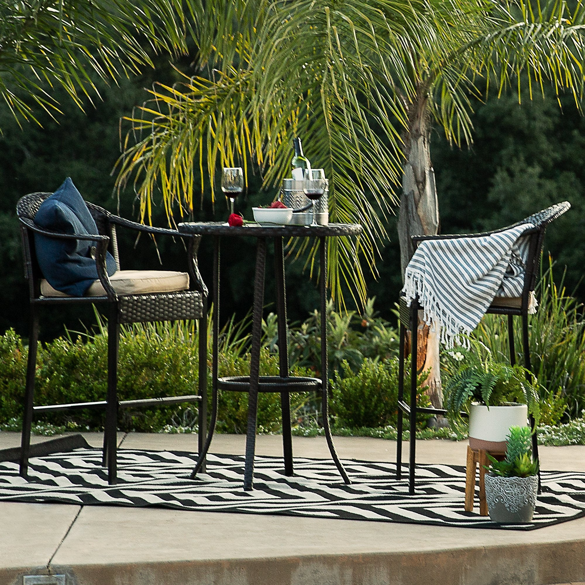3-Piece Outdoor Wicker Table Bar Set w/ Bar Stools, Footrests, Steel Frame