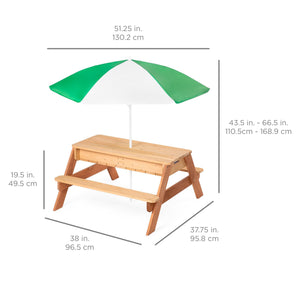 3-in-1 Kids Convertible Wood Sand & Water Picnic Table w/ Umbrella