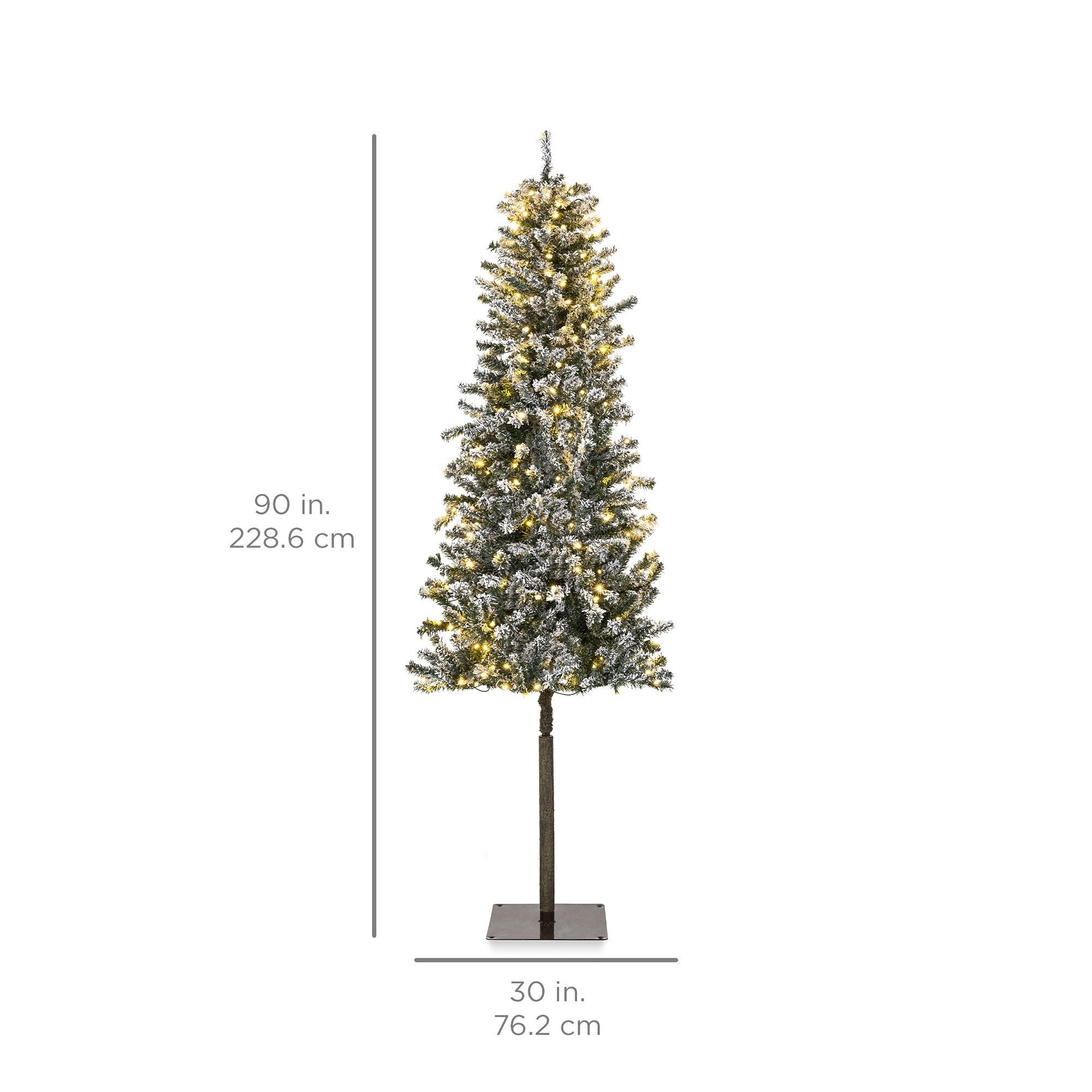 Pre-Lit Snow Flocked Alpine Slim Pencil Christmas Tree w/ LED Lights, Stand