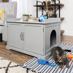 Large Wooden Cat Litter Box Enclosure Cabinet & Side Table w/ Magazine Rack