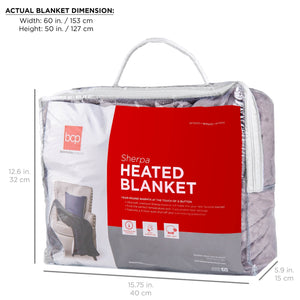 Electric Heated Reversible Sherpa Blanket w/ 3 Heat Settings, Auto Shut Off