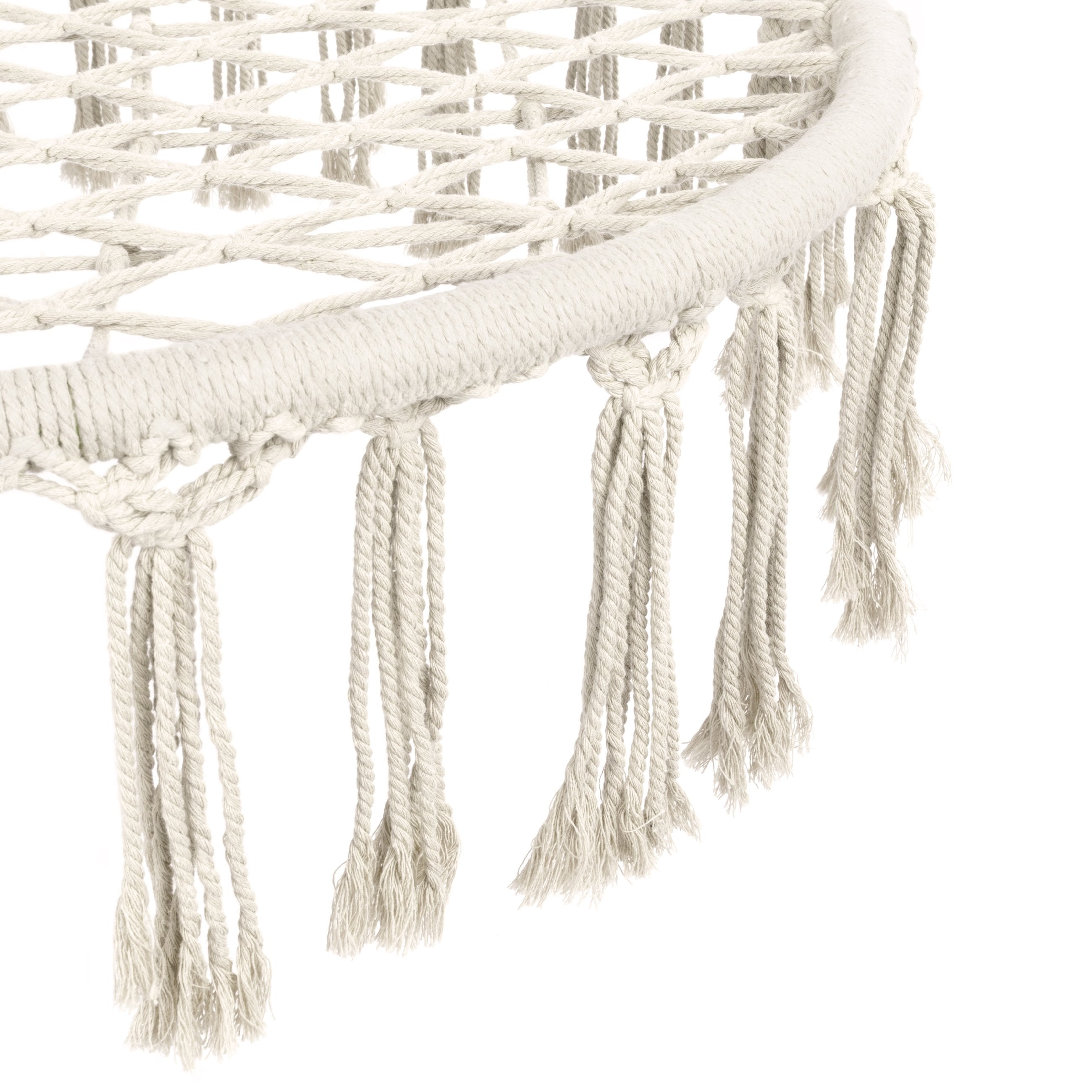 Handwoven Cotton Macrame Hammock Hanging Chair Swing w/ Fringe Tassels