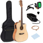 41in Full Size Acoustic Electric Cutaway Guitar Set w/ Capo, E-Tuner, Bag