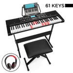 61-Key Beginners Electronic Keyboard Piano Set w/ Lighted Keys, Headphones