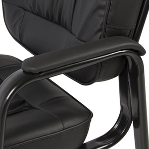 Padded Leather Office Side Chair - Black