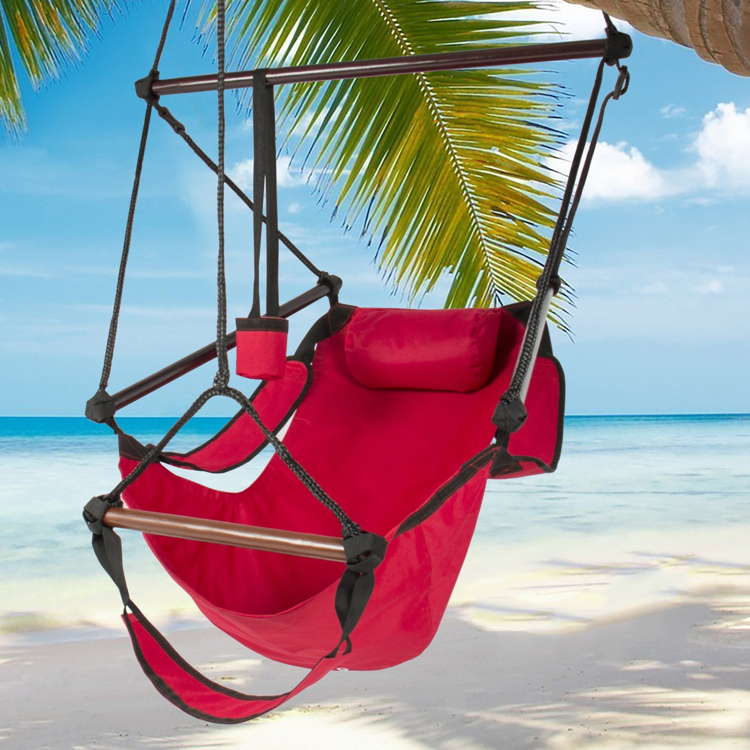 Hammock Hanging Chair Air Deluxe Sky Swing Outdoor Chair Solid Wood 250lb