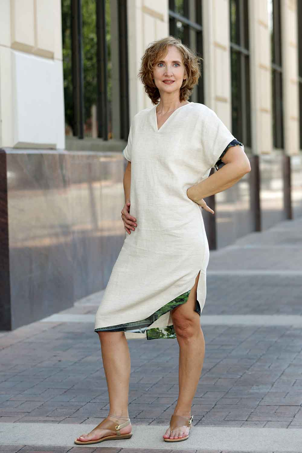asymmetric linen cotton dress